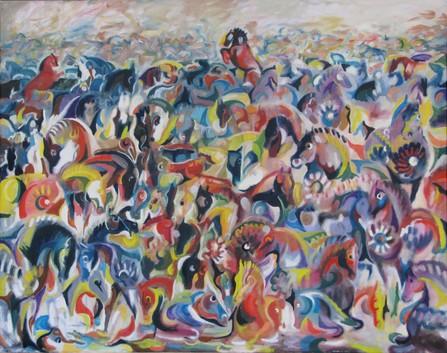 Dala horses 92x73 cm