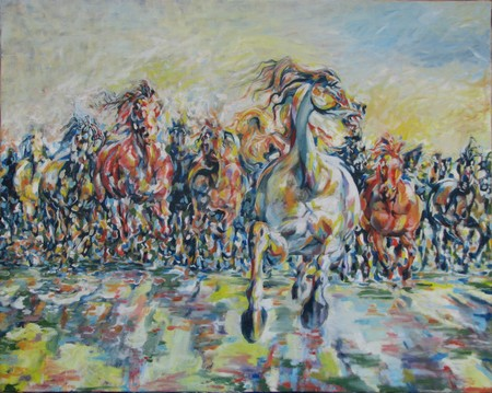 Gallopping horses 100x80