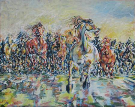 Gallopping horses 100x80 cm