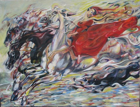 woman in red on horse 100x76 cm